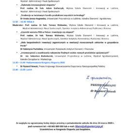 """ZAPROSZENIE KONGRES EKSPORTU 2020 """"Innowacyjność polskiego eksportu w ostatniej dekadzie"""" -26.03.2020 r."""